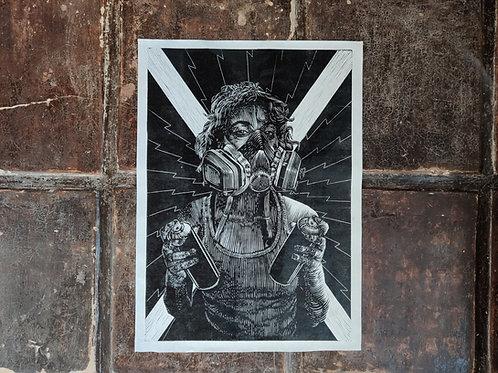 Graffiti girl - handmade print  limited edtion