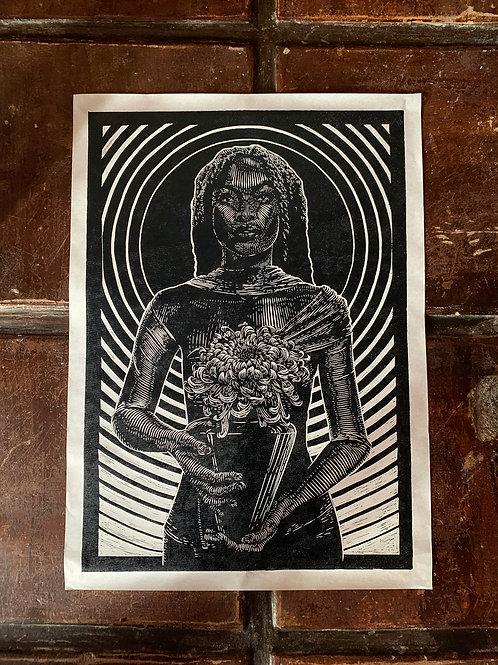 Botanical Lady - handmade print  limited edtion