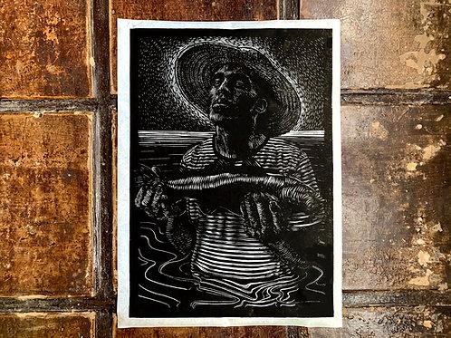 Pescador - handmade print  limited edtion