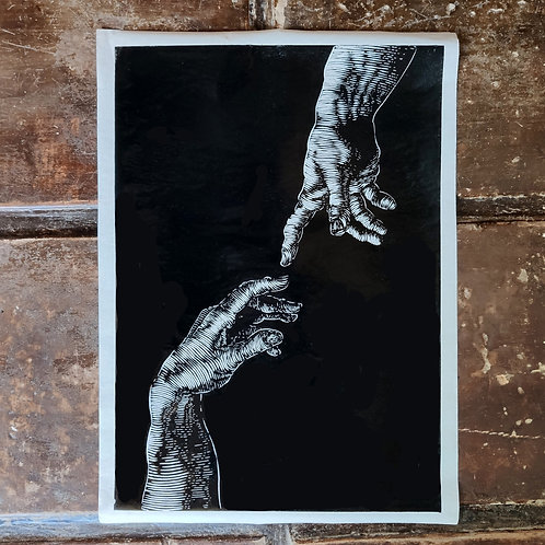 Touch of God- handmade print  limited edition