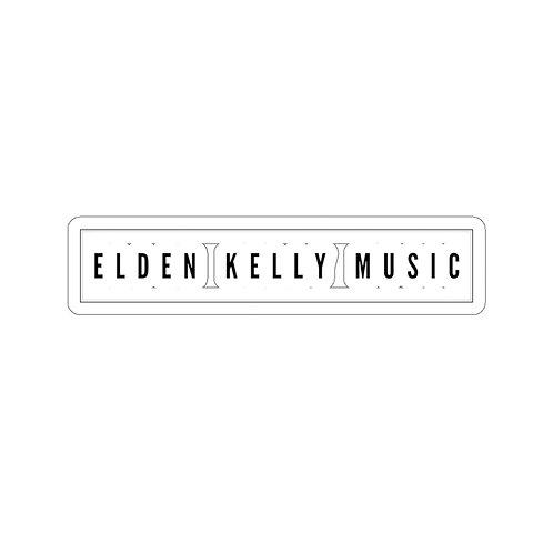 """""""Elden Kelly Music"""" sticker black text on white"""