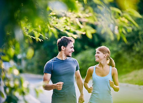 Lovely couple jogging in the morning