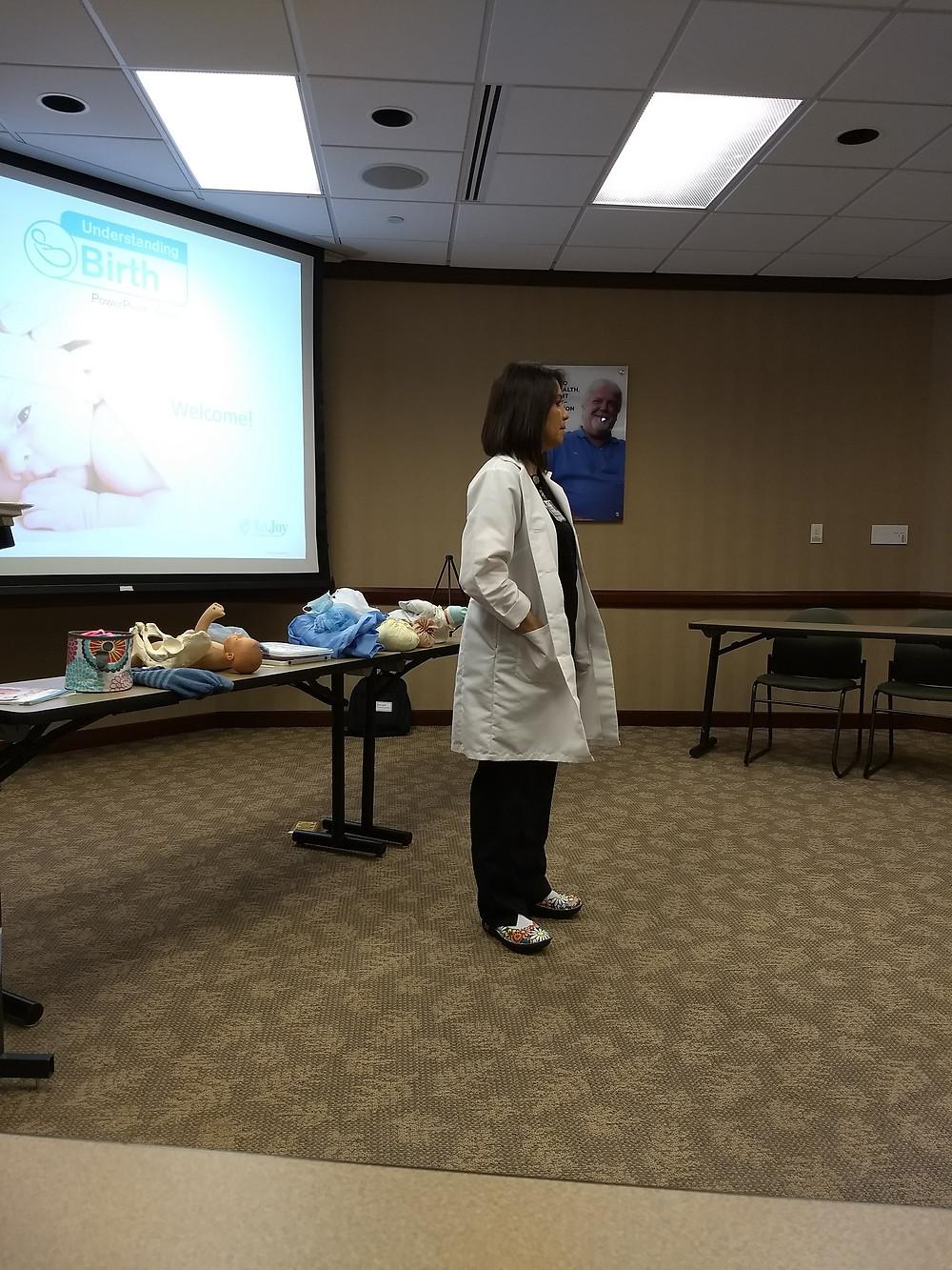 Childbirth educator teaching