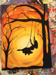 Girl on Swing (orange)