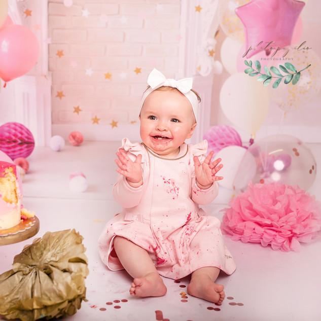pastel pink cake happy