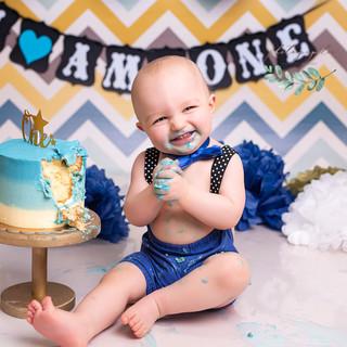 Chevron blue cake happy