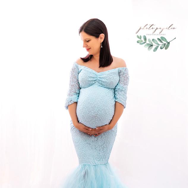 matrnity baby blue on white