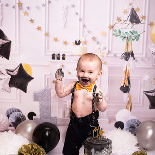 Black tie smash cake happy