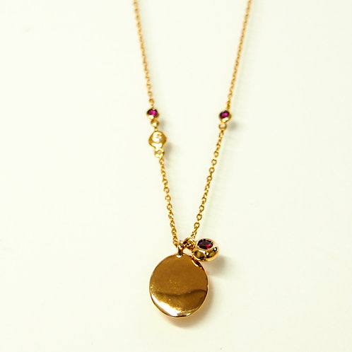 Ruby Solitaire Charm and Round Medal Top Necklace