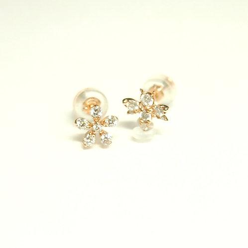 Bee&Flower Motif Earrings (pierced)