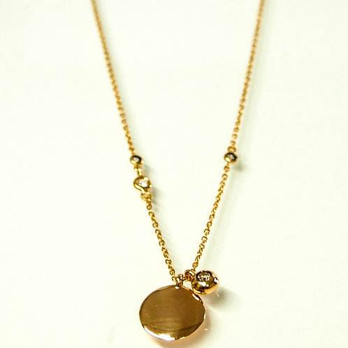 Brown Diamond Solitaire Charm and Round Disk Top Necklace