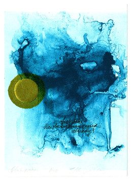 """that wake -  has the boatman passed already?         Solarplate Etching with Chine Collé 10 ½"""" x 8 ¼"""" 26.6 cm. x 20.9 cm."""