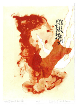 """tall rust boots just the color of the girl's hair          Solarplate Etching with Chine Collé 12"""" x 9"""" 30.4 cm. x 22.8 cm."""