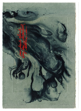 """one dark cloud very low — detached visits me          Solarplate Etching with Chine Collé 10 ½"""" x 8 ¼""""  26.6 cm. x 20.9 cm."""