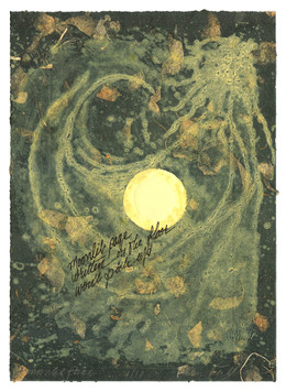 """moonlit page written on the floor won't pick up         Solarplate Etching with Chine Collé 10 ½"""" x 8 ¼"""" 26.6 cm. x 20.9 cm."""