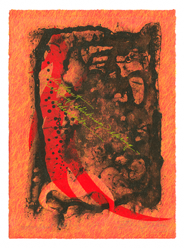 """reluctant sulking slinking spring - refusenik         Solarplate Etching with Chine Collé 12"""" x 9"""" 30.4 cm. x 22.8 cm."""