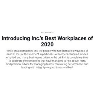 Ridgeline Insights Makes Inc. Magazine 2020 List of Best Workplaces