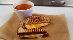 Soup and grilled cheese lunch combo.