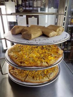 Breakfast burritos and breakfast piz
