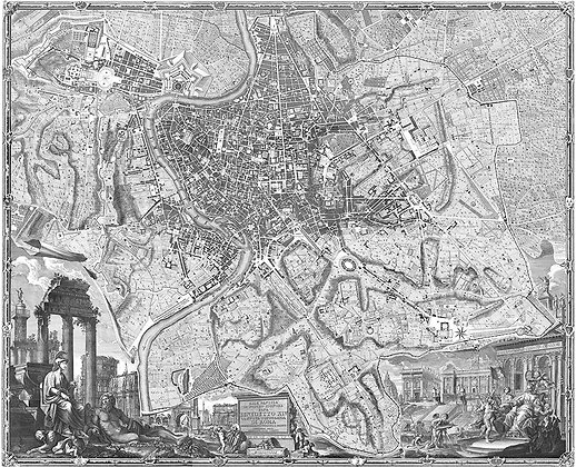 Antique Map of Rome Italy