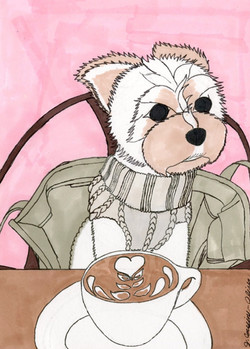 """""""Cafe Pup"""" by Jacqueline Cousins-Oliva"""