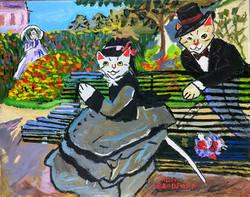 """Cat-mille Monet on a Garden Bench"" by Ruby Bradford"