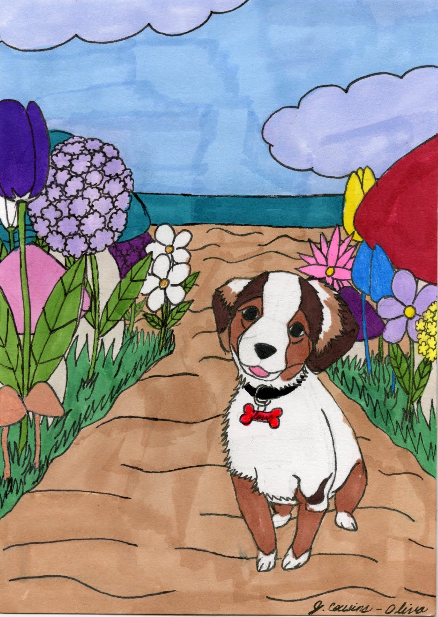 """Garden Pup"" by Jacqueline Cousins-Oliva"