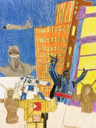 """Godzilla vs. Robots"" by George Zuniga"
