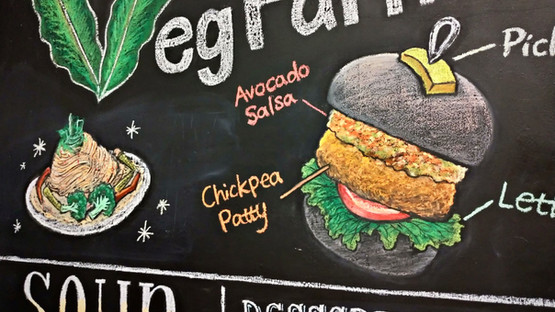 黑板牆壁畫|蔬食餐廳