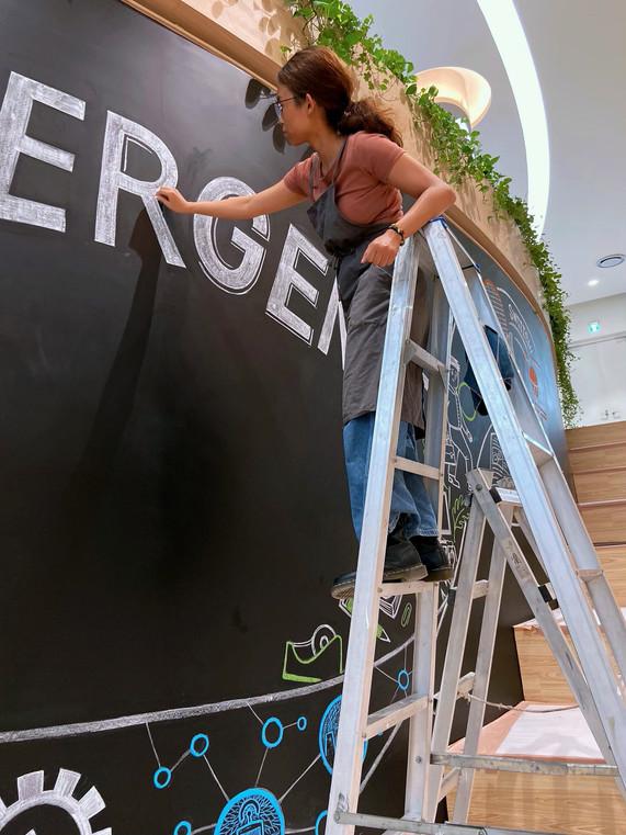 黑板牆壁畫|科技公司