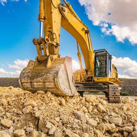 Excavators machine in construction site.