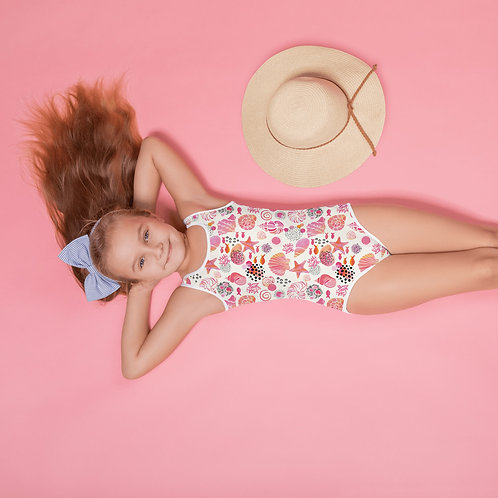"""Shell Shocked Pinky"" All-Over Print Kids Swimsuit"