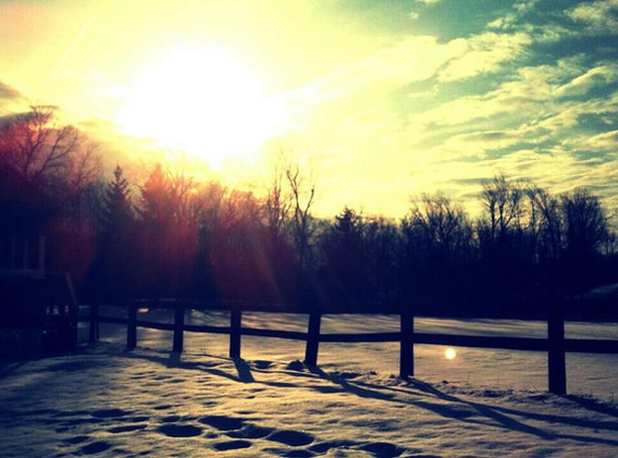 Sunset over the snowy pastures
