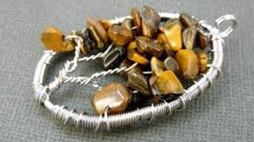 Tiger's Eye Tree of Life Crystal Necklace, Vitality, Action and Success.