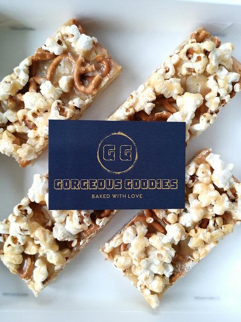 Caramel Popcorn Pretzel Blondies