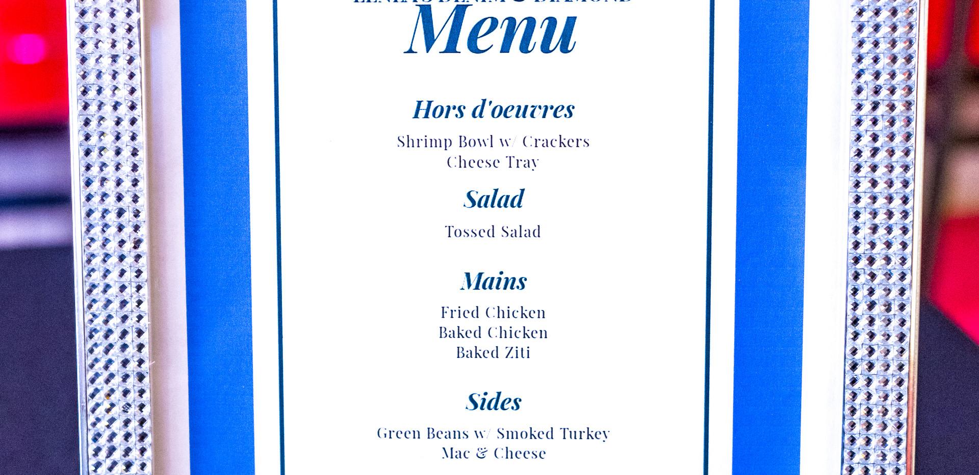 denim and diamond menu.