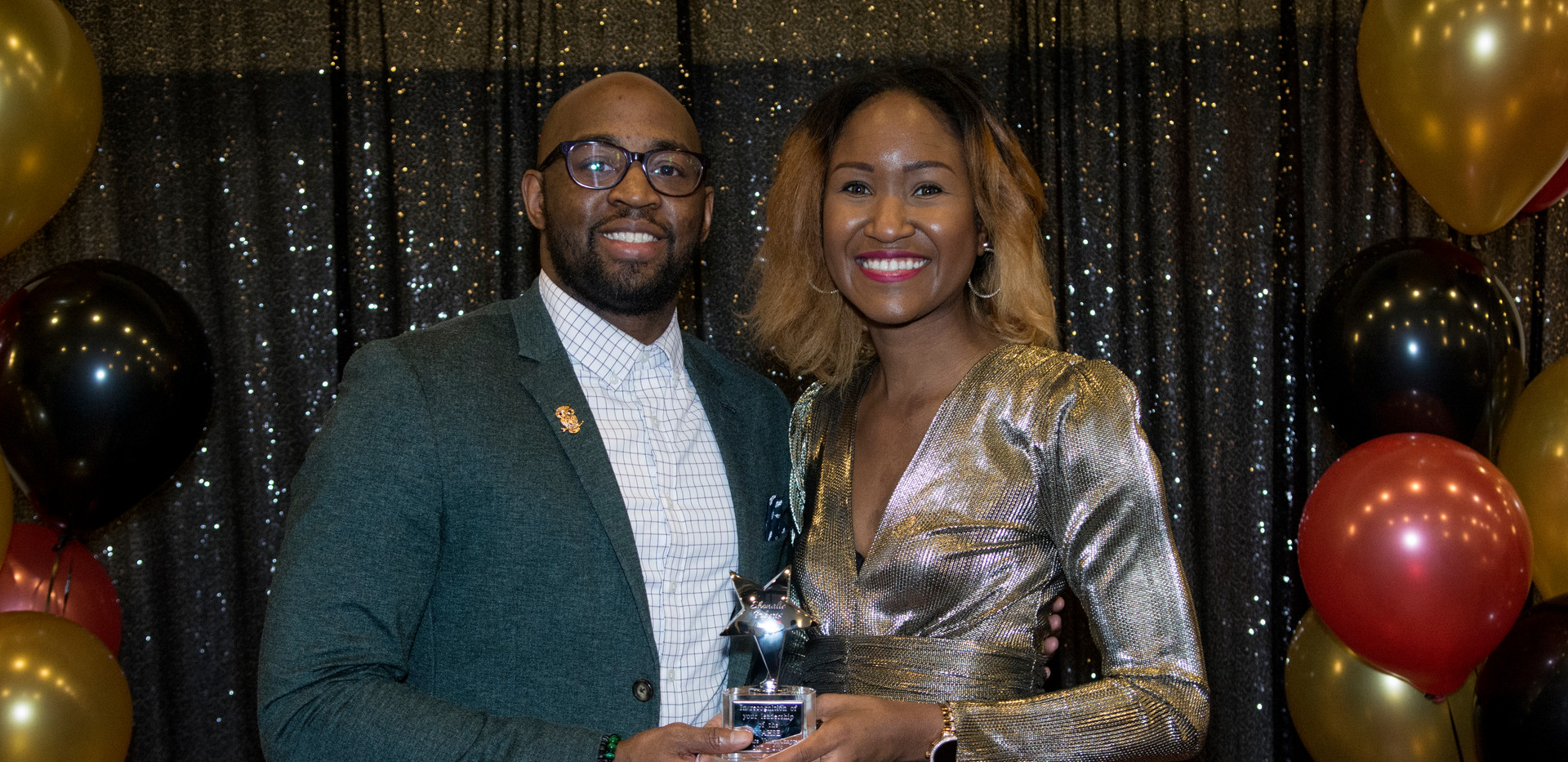 NAHSE Delaware Valley Chapter incoming President Tyshawn Toney with outgoing President Shonalie Roberts