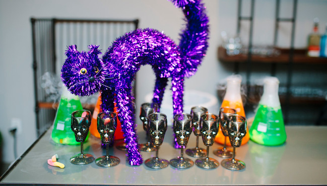 Purple kitty with dry ice drinks