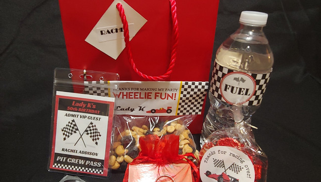 Goodie bags for NASCAR theme birthday party