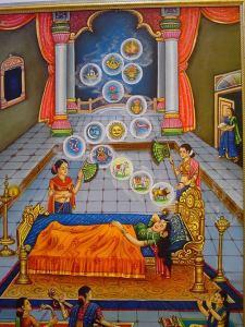 Queen Trishala Mata and the Fourteen Auspicious Dreams