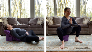 Reclined cobbler pose (left) and supported deep squat (right)