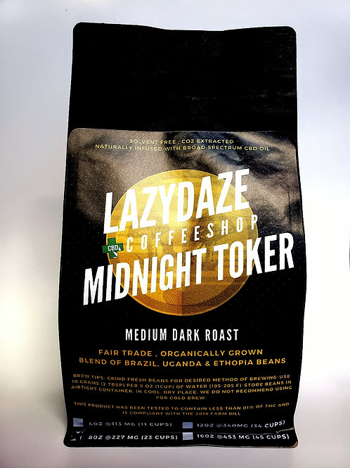 Midnight Toker CBD infused Coffee- Med-Dark Roast