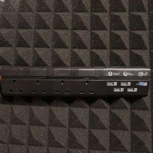 APS-S1440-BS-BK 黑色4-Gang 13A Socket w/ 4 USB Ports