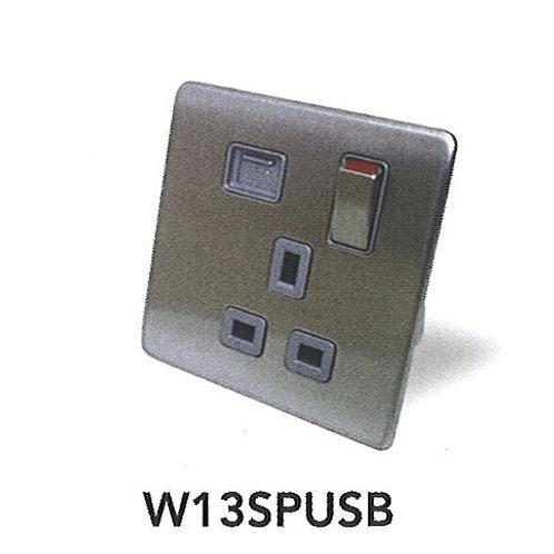 Metalica 13A Switch Socket Outlet w/ USB W13SPUSB