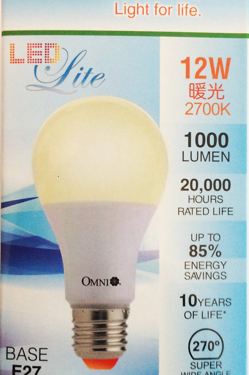 OMNI 12W LED 燈泡 (E27) 黃或白光