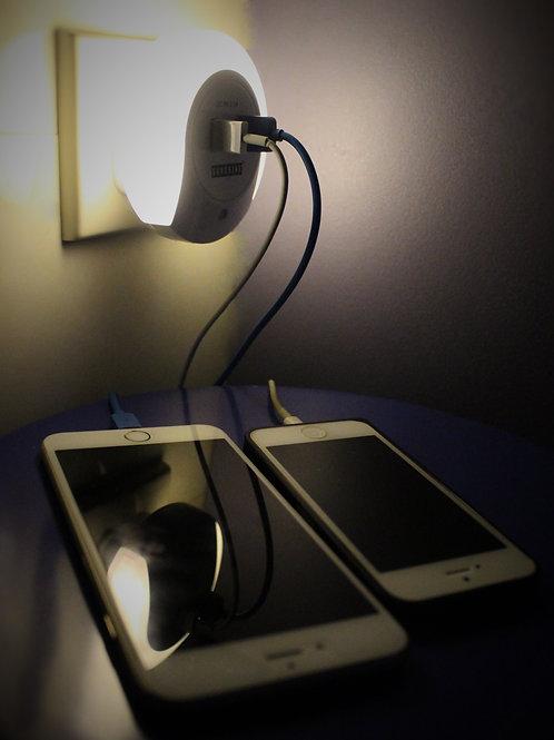 USB 2個充電插座+ 小夜燈 (LED燈膽) *可設置感光控制自動開關
