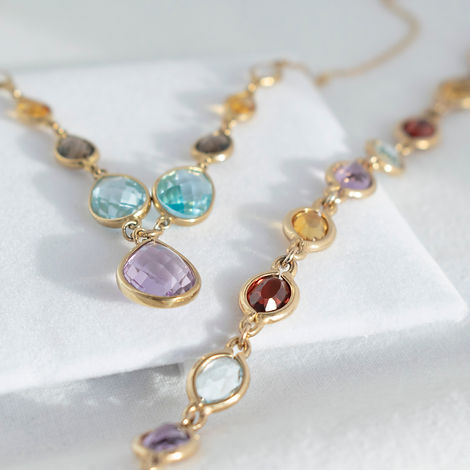 precious gemstone necklace & bracelet .j
