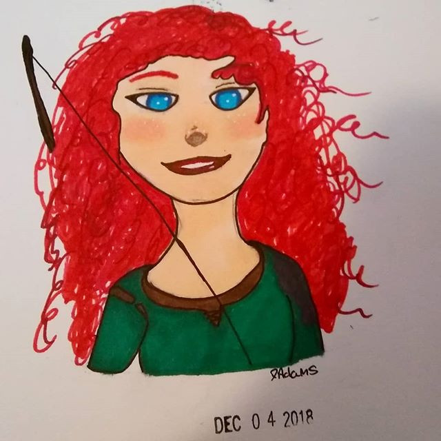 Marker drawing of Merida from Brave