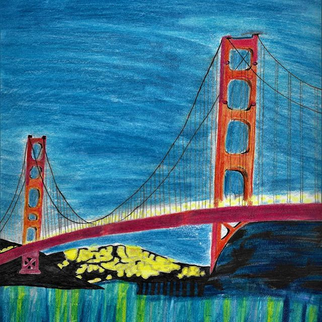 Watercolor pencil drawing of the Golden Gate Bridge