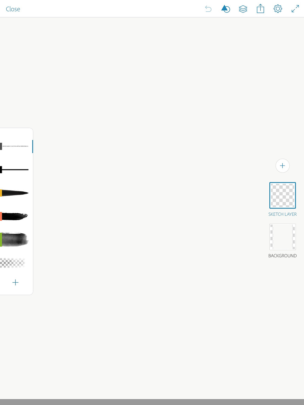 drawing screen of adobe sketch
